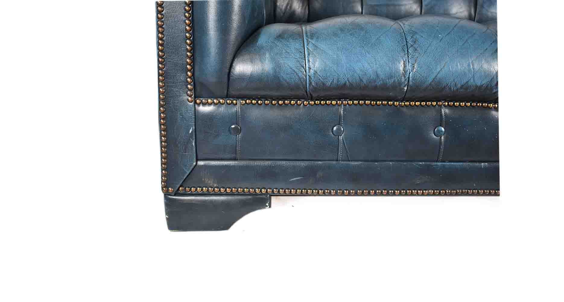 Blue Vintage Chesterfield Leather Sofa