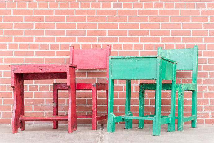 Painted School Desk Chair Set