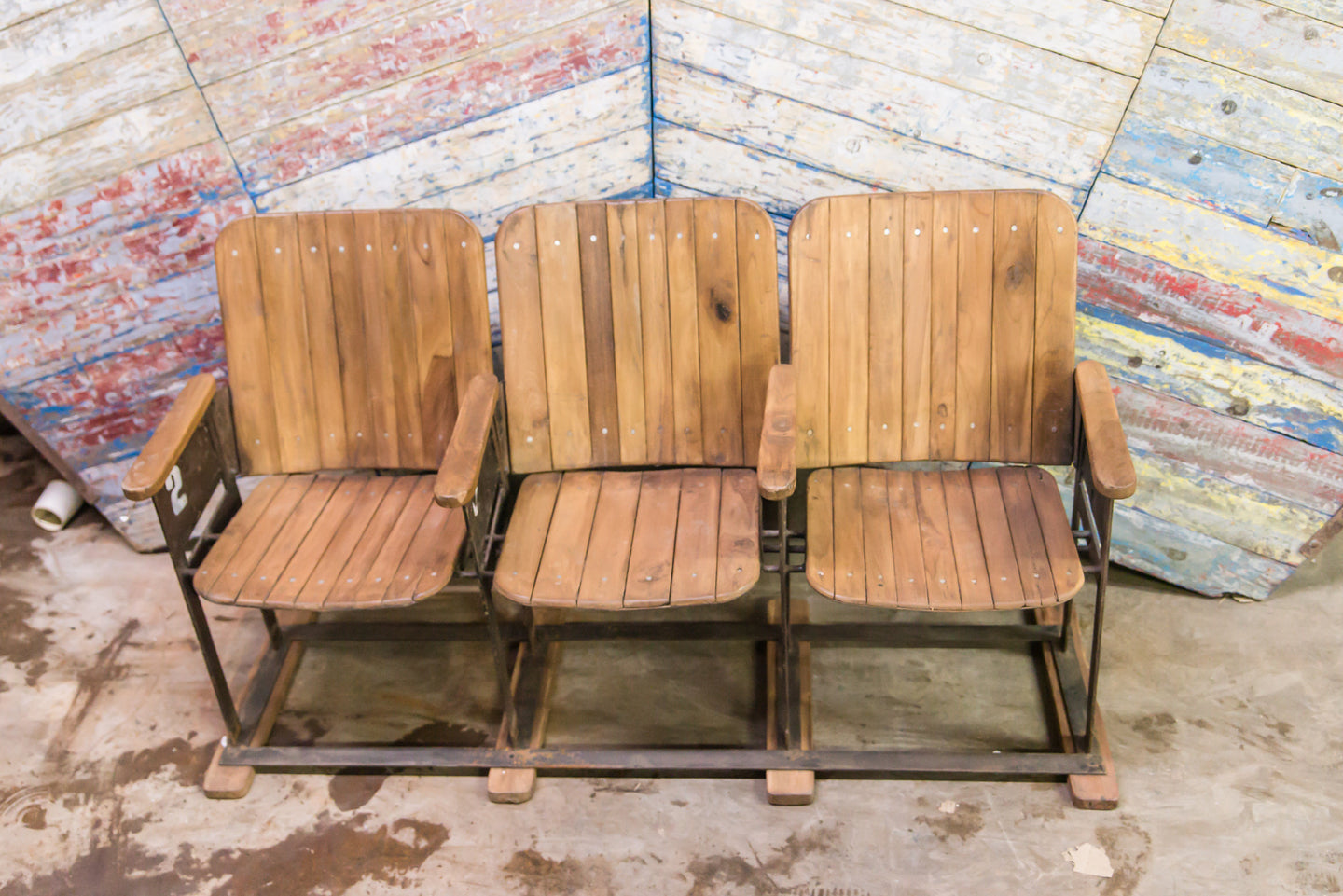 Vintage Movie Theatre 3 Wooden Seats
