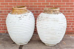 Ribbed Greek Oil White Pots