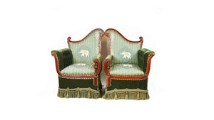 Green Elephant Accent Armchair Set
