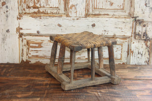 Vintage Wood Wicker Riser, Farmhouse Wicker Stool