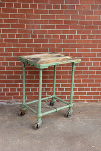 Industrial Metal Table with Wheel, Rustic Coffee Table