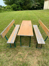 Load image into Gallery viewer, Vintage Wooden Beer Garden Set with Back