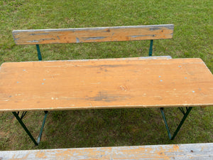 Vintage Wooden Beer Garden Set with Back