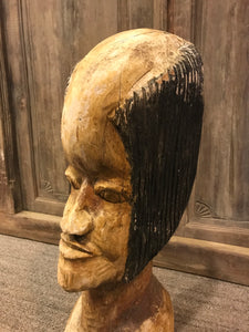 Vintage Tribal Head Wood Sculpture