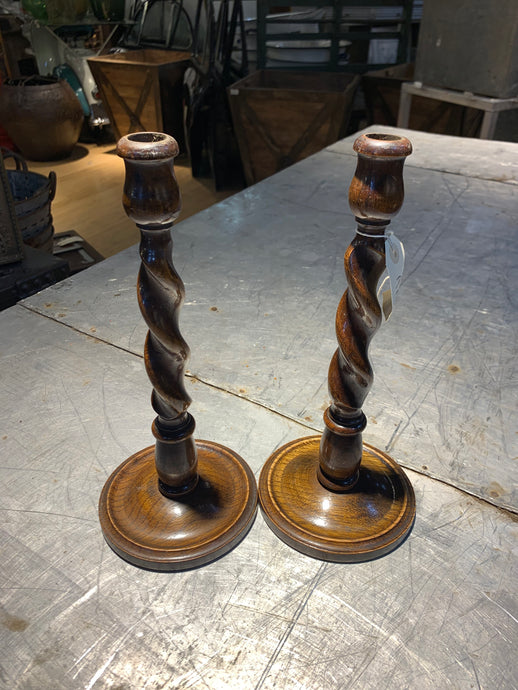 Vintage Twisted Candle Sticks- Pair