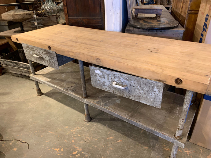 Distressed Style Table with Drawers