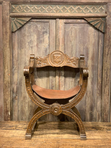 Rustic Arm Chair, Vintage Leather Wood Carved Seat
