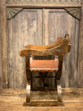 Load image into Gallery viewer, Rustic Arm Chair, Vintage Leather Wood Carved Seat