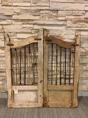 A Pair of Distressed Shutters Doors | Rusty Wooden Shutters | Farmhouse Pet Doors- Small