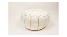 Load image into Gallery viewer, Moroccan Leather Round Pouf | Ottoman Leather Living Room Pouf | Cream
