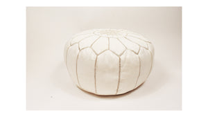 Moroccan Leather Round Pouf | Ottoman Leather Living Room Pouf | Cream