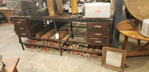 Industrial Table Dark Brown Drawer #154