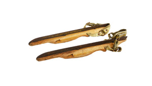 Vintage Wooden Pair of Ice Skates Pair