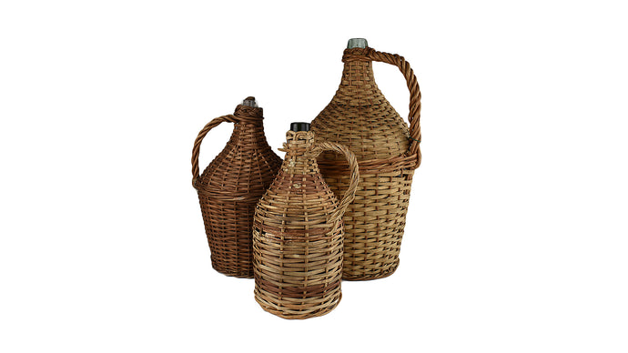 Antique French Wicker Wine Demijohn Jug (Large)