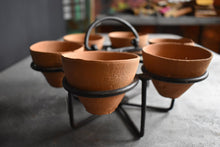 Load image into Gallery viewer, Terracotta Tea Cups with Holster| Candle Holder | Clay Handmade Eco Friendly Planter