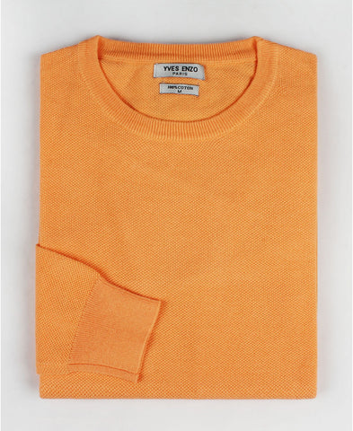 Pull col rond coton orange