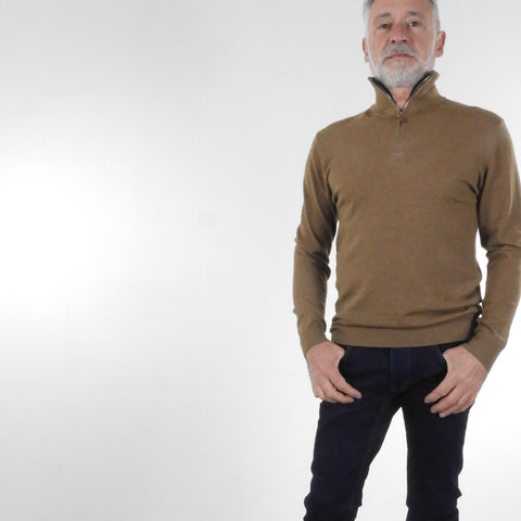 "Pull Col Camionneur Tabac ""Cashmere Touch"""