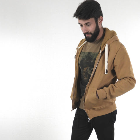 Sweat à Capuche et zip Beige