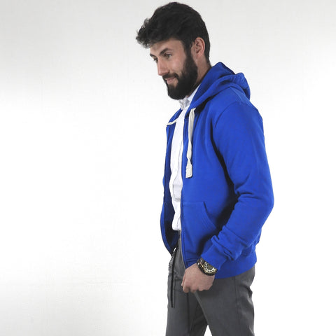 Sweat à Capuche et zip Bleu