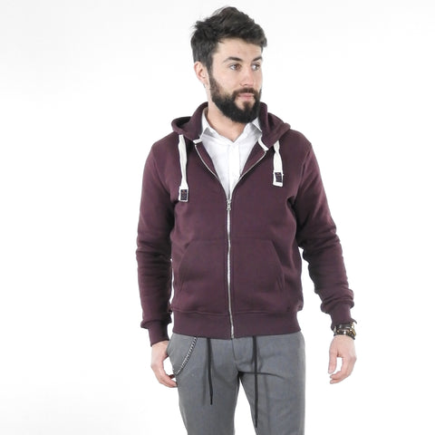 Sweat à Capuche et zip Bordeaux