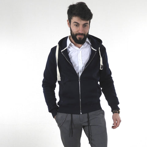 Sweat à Capuche et zip Marine