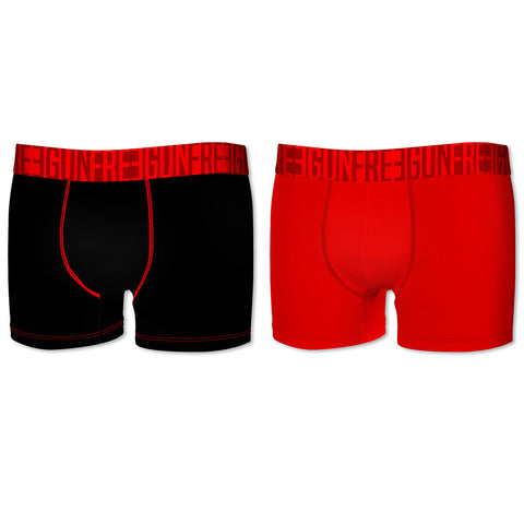 BOXER HOMME MICROFIBRE EN LOT DE 2 (ROUGE/NOIR), FREEGUN SOFT TOUCH