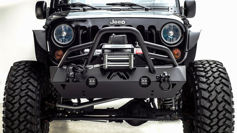 07-18 JEEP JK HARDCORE STUBBY WINCH BUMPER WITH GRILL GUARD MATTE BLACK