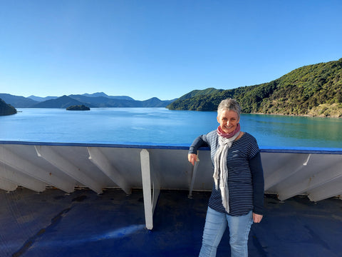 Bluebridge Ferry from Wellington to Picton, NZ - all layered up.
