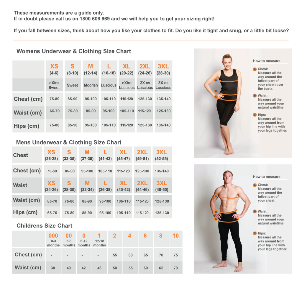 Merino Country Sizing Chart