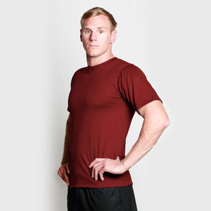 Men's Merino Crew T-shirt Burgundy