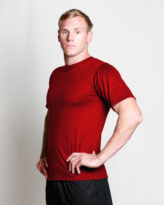 Mens Merino Crew T-Shirt Red