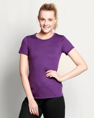 Womens Merino Crew Neck T-shirt Purple
