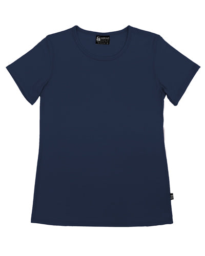 Womens Merino Crew Neck T-shirt Navy