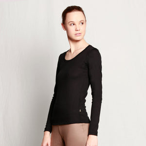 Women's Merino Scoop Neck Long Sleeve T-shirt Black