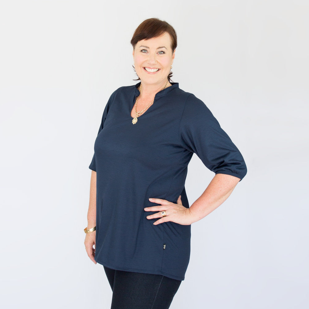 Womens Merino Tunic Top Navy
