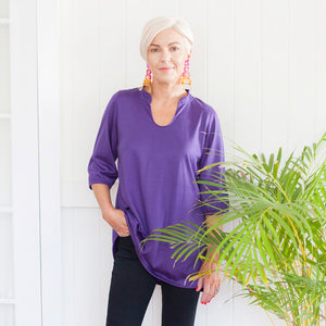 Womens Merino Tunic Top Purple