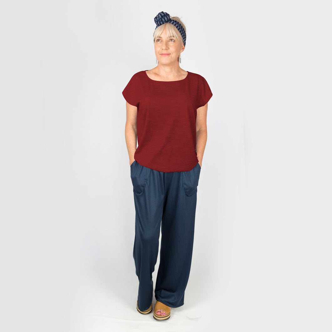 Merino Cap Sleeve Top  Burgandy