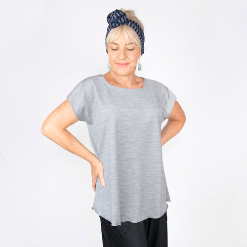 Merino Cap Sleeve Top Grey