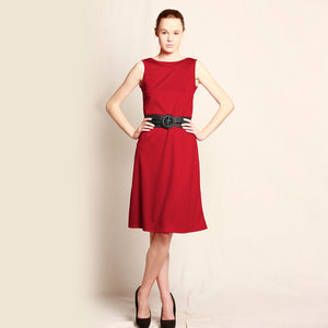 Merino Long Shift Dress - Reversible Red