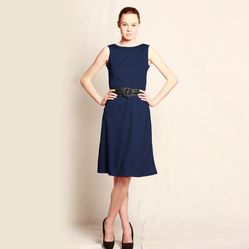 Merino Long Shift Dress - Reversible Navy