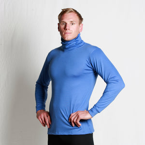 Men's Merino Roll Neck Skivvy - Blue