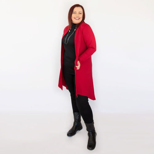 Merino Long Swing Jacket Red
