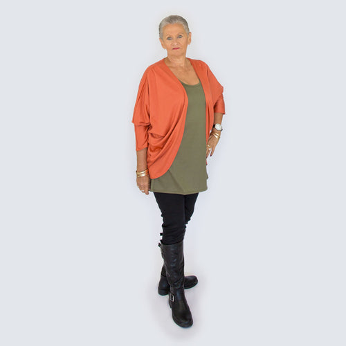 Merino Shrug Cardigan Orange