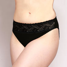 Load image into Gallery viewer, Lace Merino Hipster Briefs Black