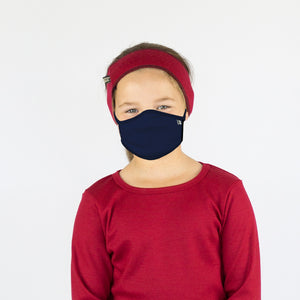 Kids Navy Merino Face Mask