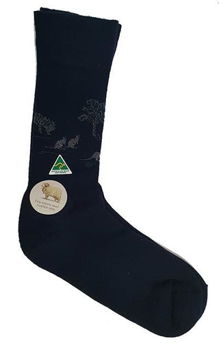 #7504T Kangaroo and Gum Tree Merino Socks