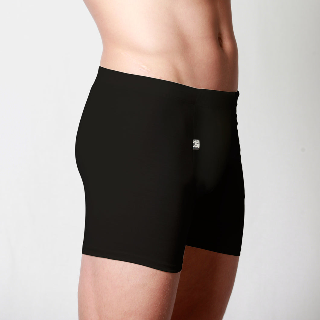 Men's Merino fitted boxer briefs black