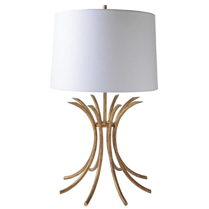 Gilded Table Lamp With White Linen Shade